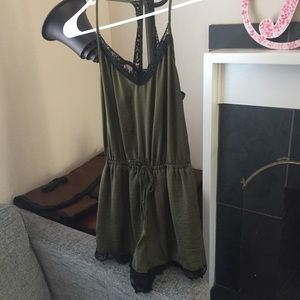 Cute Forest Green Hollister Romper w/ Lace Detail